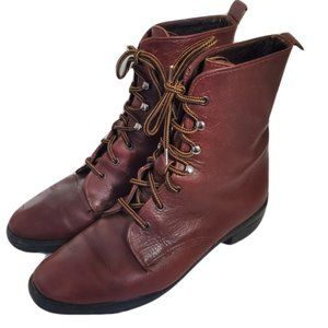 Eddie Bauer Brown Leather Lace-Up Granny Boots S